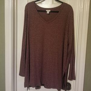 Knit Burgundy  Split Tail Long Sleeve Shirt